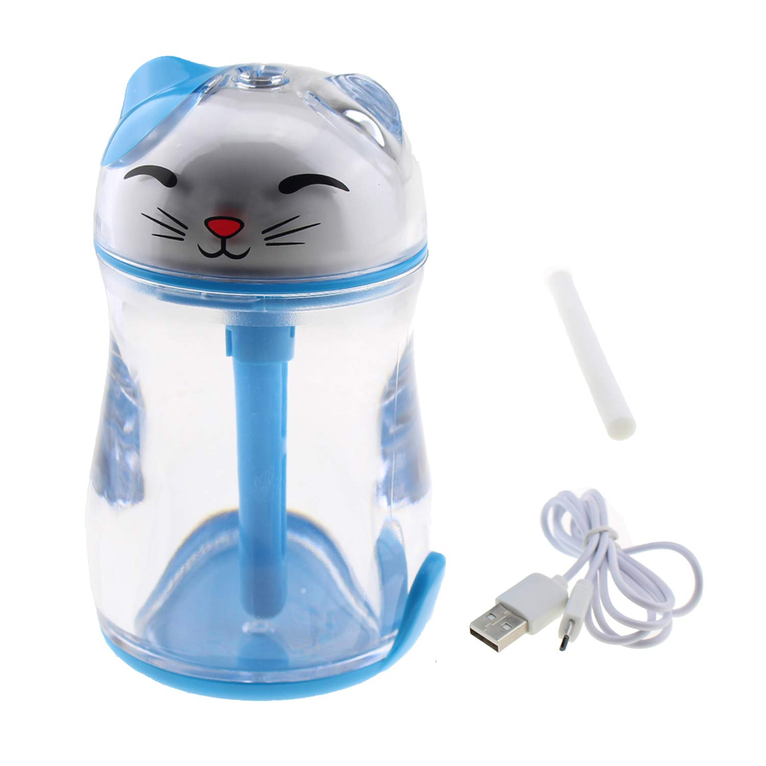 Tipmant Portable Mini Lucky Cat Air Mist Humidifier with Led Night Lights, USB Powered for Bedroom, Office, Car, Travel, Hotel etc. (Blue)