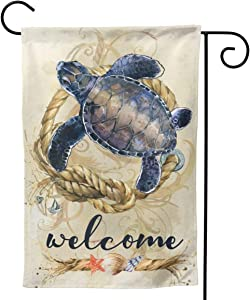"YISHOW Quote Welcome Sea Turtle Garden Flag Double Sided Vertical Quote Welcome Ocean Turtles House Flags Yard Signs Outdoors Decor 12.5"" X 18"""