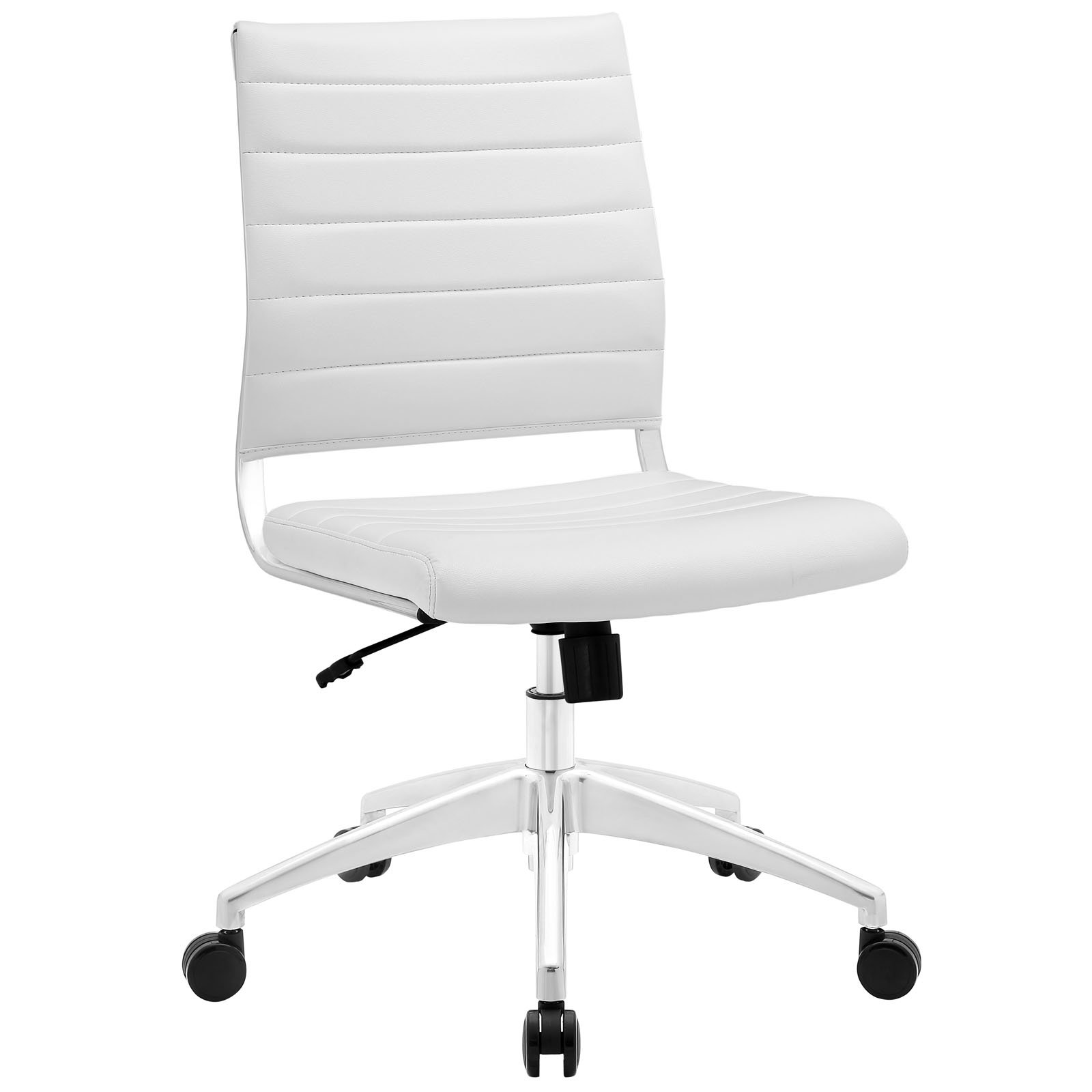 Modway Jive Ribbed Armless Mid Back Swivel Conference Chair In White by Modway