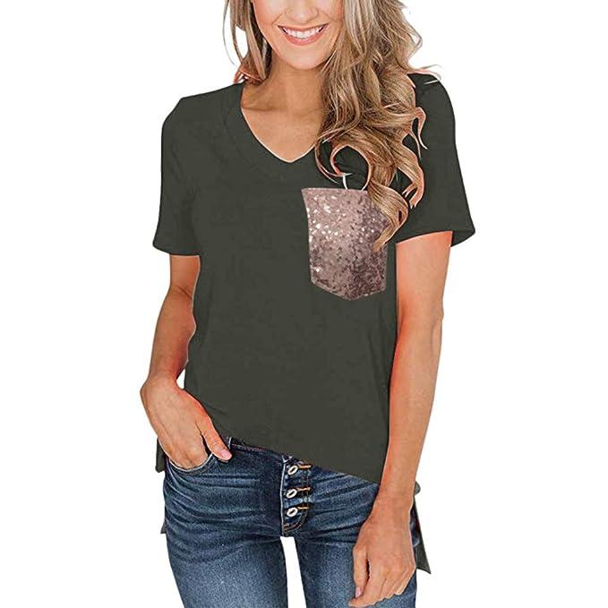 73ab47311266 Maglietta Donna Manica Corta T-Shirt Collo Rotondo Patchwork Blusa  Camicette Casual Sportivi Camicia Magliette Moda Allentato Camicetta Bluse  Estivo ...