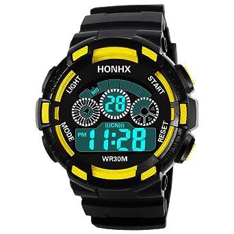 QinMM Deporte Muñeca Relojes Digitales LED Tecnología para Niños Niñas pulsera (E)