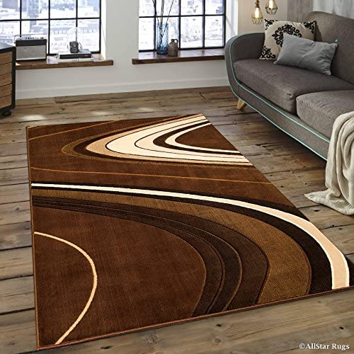 Allstar 8×10 Brown Modern and Contemporary Machine Carved Rectangular Accent Rug with Ivory, Mocha and Espresso Wavy Line Design 7 9 x 10 2