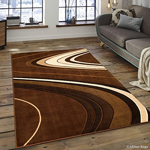 Allstar 8x10 Brown Modern and Contemporary Machine Carved Rectangular Accent Rug with Ivory, Mocha and Espresso Wavy Line Design (7' 9