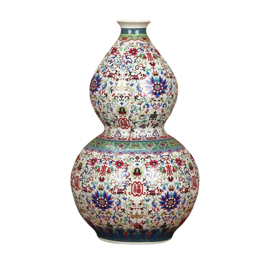 LIULIJUN 花瓶セラミックスアンティーク中国エナメル磁器ホワイト撫子ひょうたん花瓶現代ホーム彫刻装飾 B07T8XCCHF
