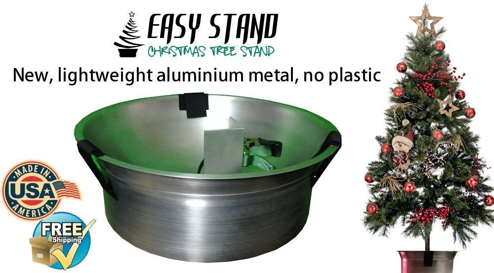 Stand Tree New- Lightweight aluminium, No plastic, Very Stabile, Holds a 2-4 inch tree trunk -USA