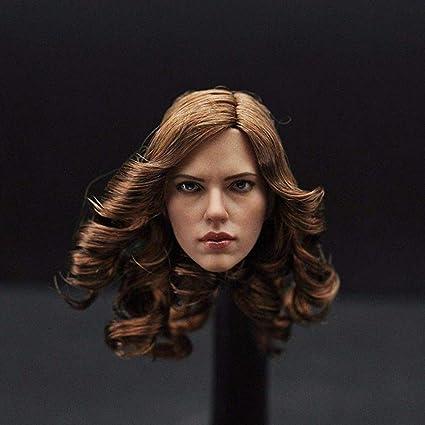 """1:6 Black Widow Scarlett Johansson Head Model For 12/"""" Hot Phicen Female Body Toy"""