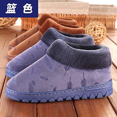 Aemember hombres zapatillas de algodón en invierno engrosamiento calidez amantes Home alta, invierno, Paquete completo con cubierta inferior grueso Anti-Skid,46-47 (43-44 pies) 46-47 (for 43-44 feet)