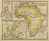 1828 School Atlas | Africa. J.W. Barber sc. (with) Outline of British Isles. (with) Outline of Europe. (Published by Richardson & Lord. | Antique Vintage Map Reprint