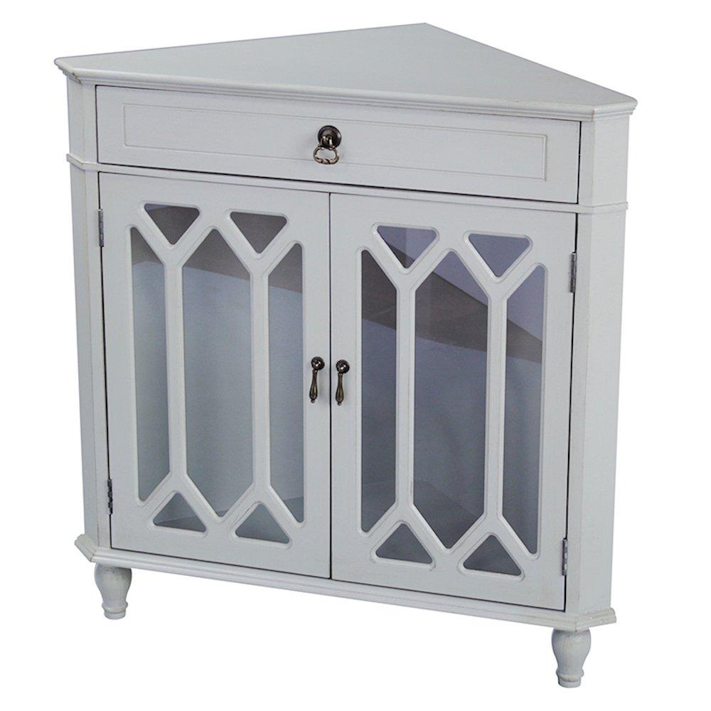 Ann mirror insert double door single drawer wooden corner cabinet - Amazon Com Heather Ann Creations 2 Door Corner Cabinet With Drawer And Cathedral Glass Insert Sea Foam Green Kitchen Dining