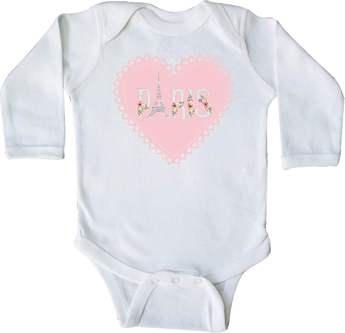 inktastic Cute Paris Valentines Day Heart with Flowers Long Sleeve Creeper
