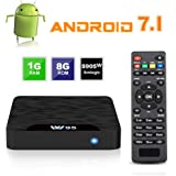 Android 7.1 Smart TV Box - SEEKOOL Model C Android TV Box con 1GB RAM 8GB ROM, 4K UHD, Amlogic S905W Quad Core 64bit CPU, HDMI & AV Salida, 2 Puerto USB, WiFi LAN Android TV Player