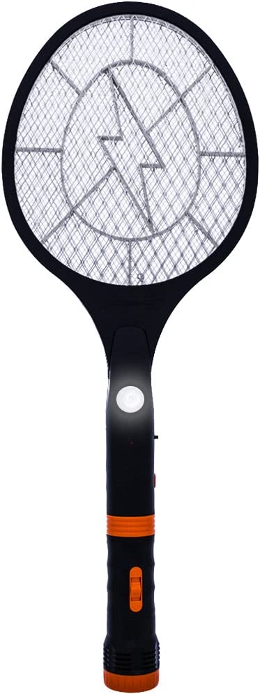 Koramzi F-12 Electric Mosquito Swatter/Bug Zapper with Rechargeable Battery, and Removable Flash Light and Handle Light