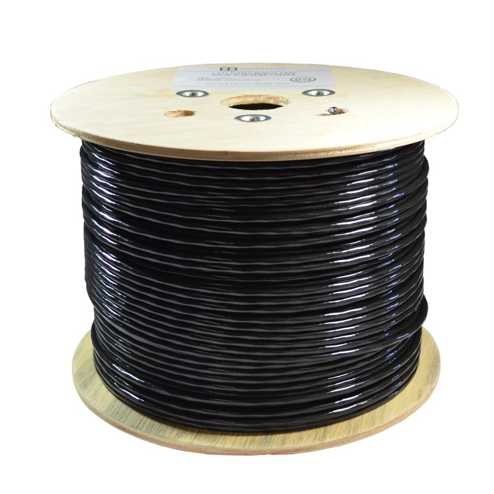 Dripstone Bare Copper 1000ft CAT6 Outdoor / Direct Burial Solid Ethernet Cable 23AWG CMX Waterproof Wire HDPE insulated Polyethylene (PE) Pass Fluke Test for Indoor / Outdoor Installations Drum Black
