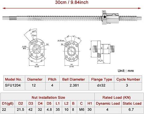 Schraubensteigung 4mm,Schraubendurchmesser 12 mm,300mm Kugelumlaufspindel Kugelrollspindel 300mm,Kugelumlaufspindel 300mm Kugelumlaufspindel Spielfrei ohne seitliche Endst/ützen