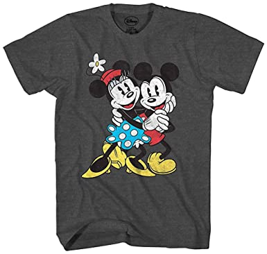 eaf8c3d9a8ff0 Disney Mickey   Minnie Mouse Old School Love Vintage Classic Retro Adult  Men s Graphic Tee T