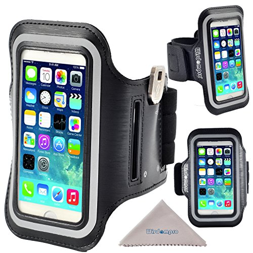 iPhone 5s Armband, iPhone SE Armband, Wisdompro Reflective Sports Running Armband Case with Key Holder for Apple iPhone SE, 5, 5s, 5c & iPod Touch 5, 6 (Black)