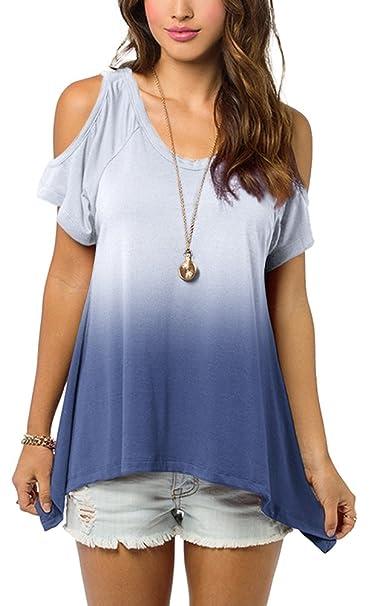 Urban GoCo camisas Fuera Del Hombro Blusa Color Degradado Camiseta Moda Para Mujer (S,