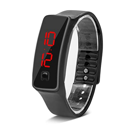 Sports Digital Watch, Silicone Jelly LED Electronic Wrist Watch Bracelet for Men Women(Black