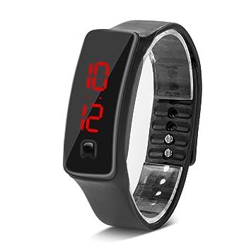 Deportes Reloj LED con Correa de Silicona Reloj Digital de Pulsera con Pantalla Electrónica DE 12 Horas para Niños 8 Colores(Negro): Amazon.es: Deportes y ...