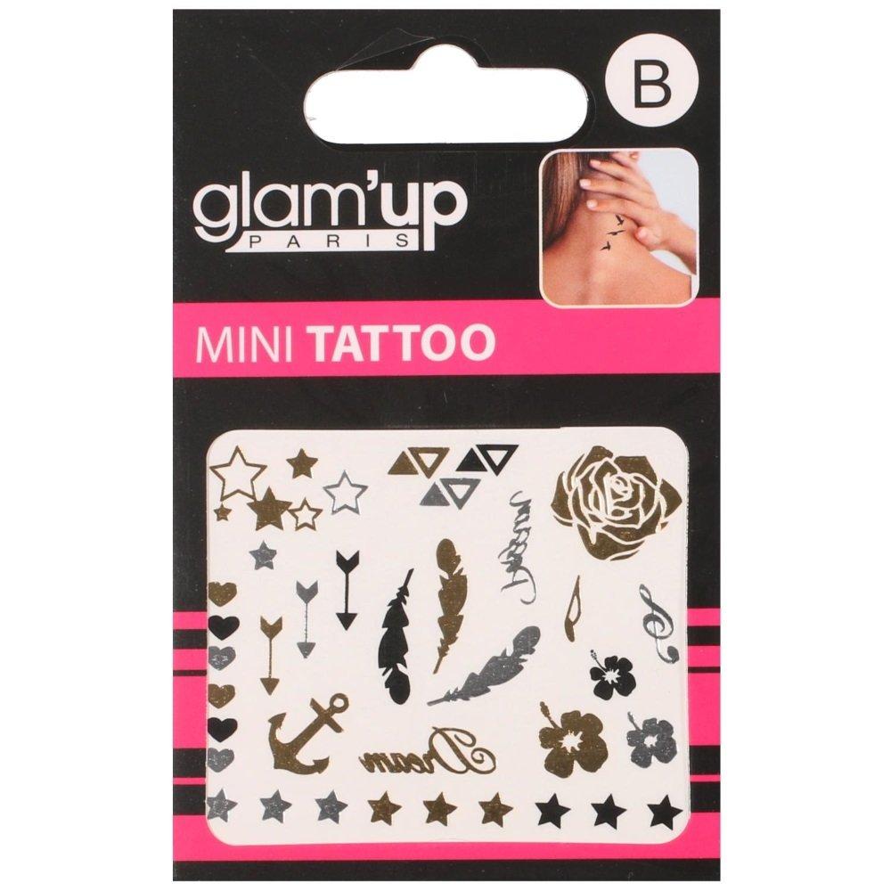 Tatuajes ephémères Mini Tattoo Colores Metal flores plumas ...