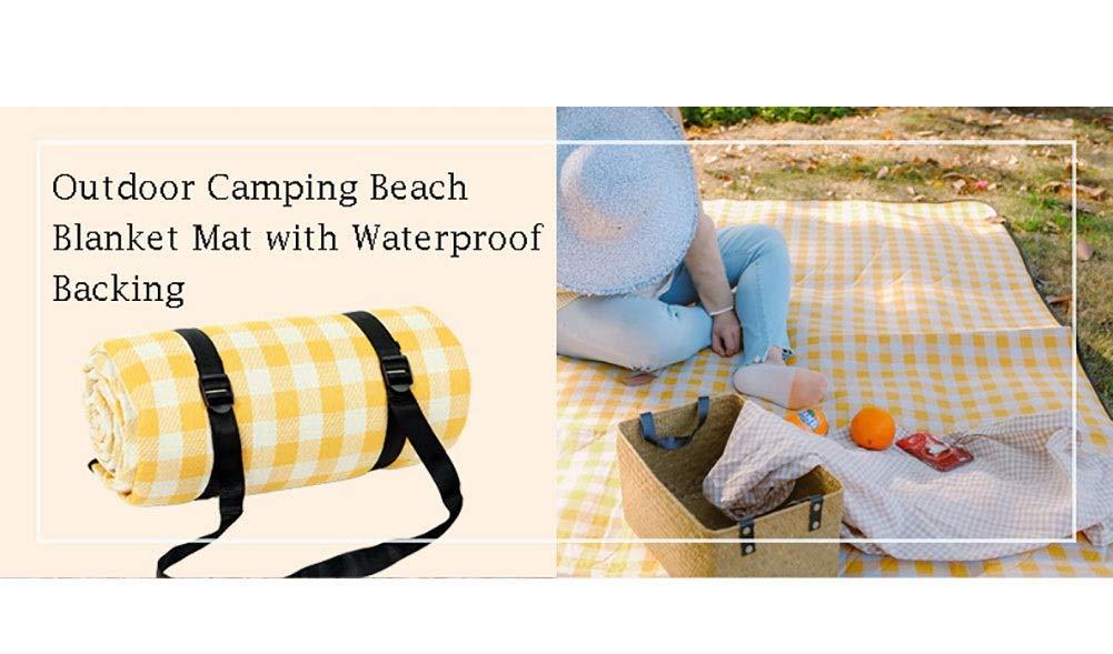 Picknickdecken Extra Große Wasserdichte, Sanddichten Stranddecke Stranddecke Stranddecke Im Freien, Zeltteppich, Wandern Zelt BBQ-Matte, Gelbe Und Weiße Gitter (größe   200x200cm) B07PJ7YVM2 | Quality First  10b63d