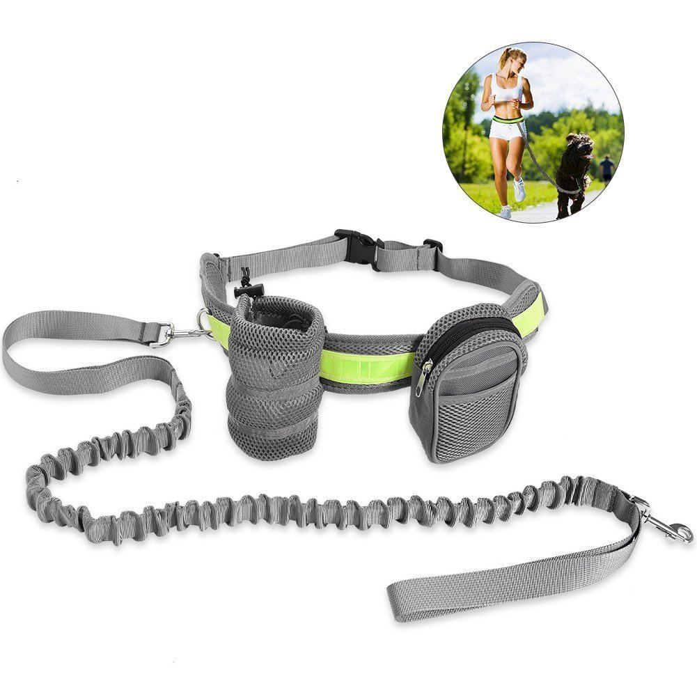 Sikoon Hands Free Dog Leash Set With Retractable Dog Leash, Bottle Bag, Waist Bag, Adjustable Waist Belt, Dual Handles, Night Reflective Design - Grey