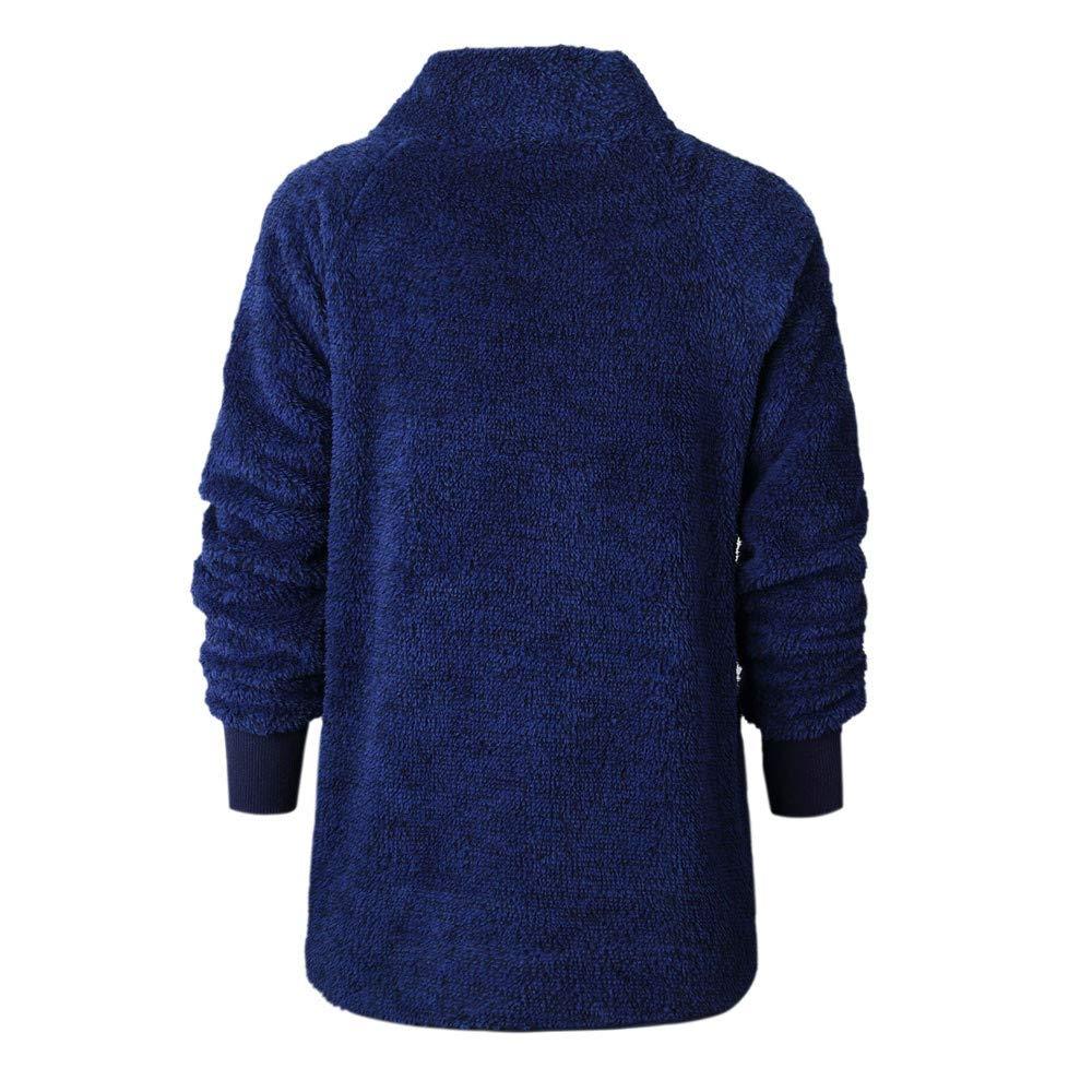 Ulanda Womens Flannel Long Sleeve Oblique Button Neck Splice Geometric Pattern Fleece Pullover Coat Sweatshirts