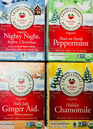 Traditional Medicinals Holiday Organic Herbal Teas Variety Pack - 4 Boxes- 16 tea bags each (Holly Jolly Ginger Aid, Peace on Earth Peppermint, Nighty Night Before Christmas, Chamomile)