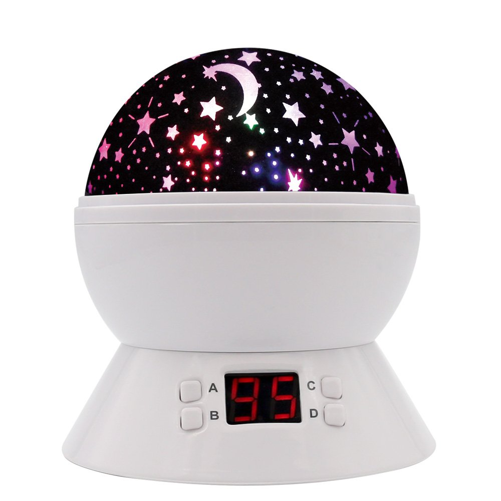 [UPGRADE] MOKOQI Rotating Star Sky Projection Night Lights Toys Table Lamps with Timer Shut Off & Color Changing For 1 Year Old Baby Girls Boys Bedroom Christmas Gift Baby Nursery Lights (White)
