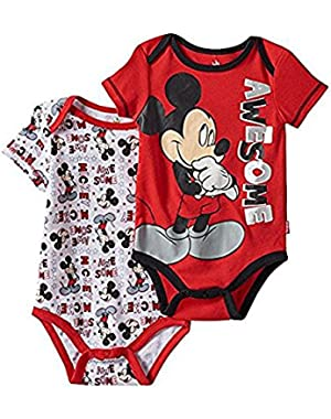 Disneys Mickey Mouse Baby Boy Awesome 2-pk. Bodysuits 12 M Red