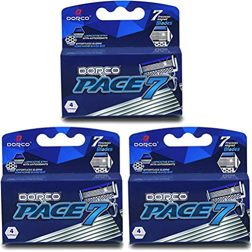 Dorco Pace 7 - World's First and Only Seven Blade Razor- 12 Cartridges (No Handle) (Made First Sunglasses Ever)