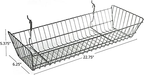 Azar Displays 300626-2pack Large Wire Basket, Chrome Pack of 2