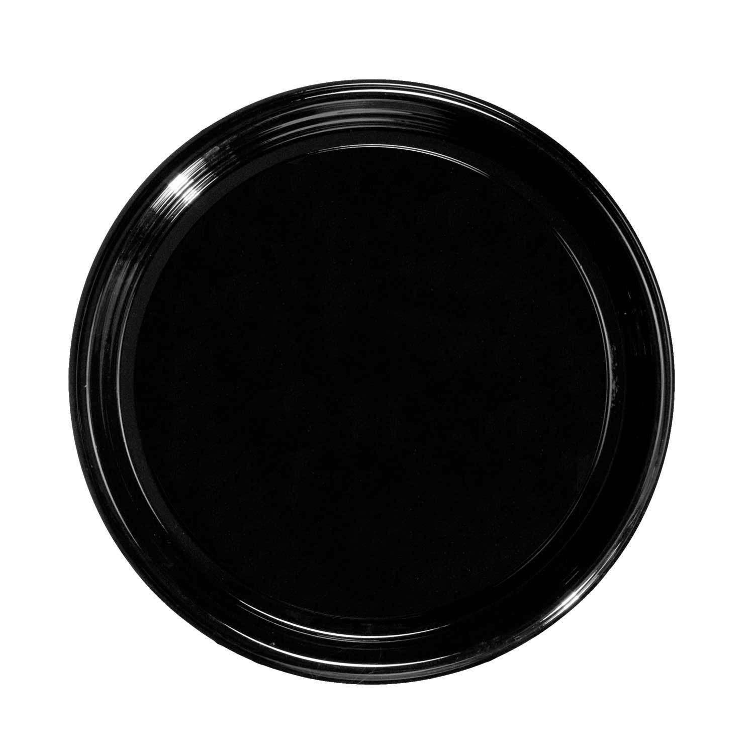 Party Essentials Soft Plastic 12-Inch Round Flat Catering Trays, Black, 3-Pack by Party Essentials (Image #2)