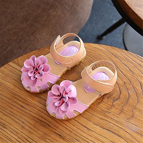 Lalang Baby Mädchen Blume Sandalen Lauflernschuhe Sommer Kinderschuhe Lila