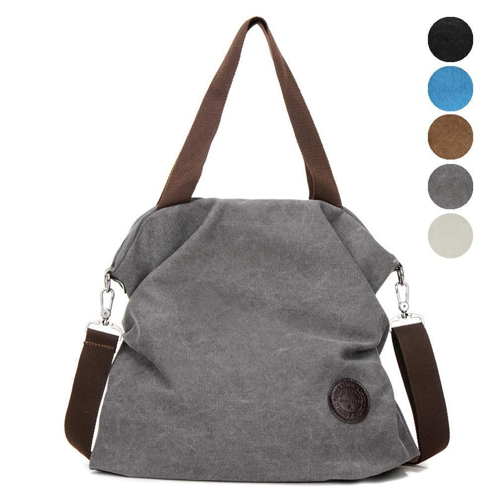 Injoy Women Casual Canvas Shoulder Bags Cross-Body Bag Messenger Bag Tote Bags, Grey