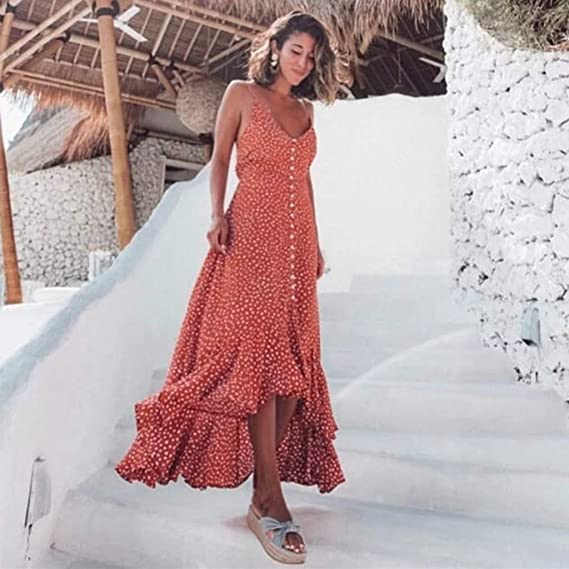 Summer Dresses For Women Clearances Vintage Printed Sleeveless Strappy Summer Beach Swing Camis Dress For Anniversary,Party,Valentines Day Navy,L
