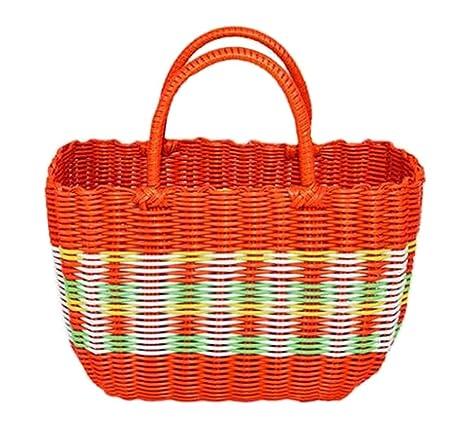 Amazon.com: Colorido tela cesta de la compra bolsa de tela ...