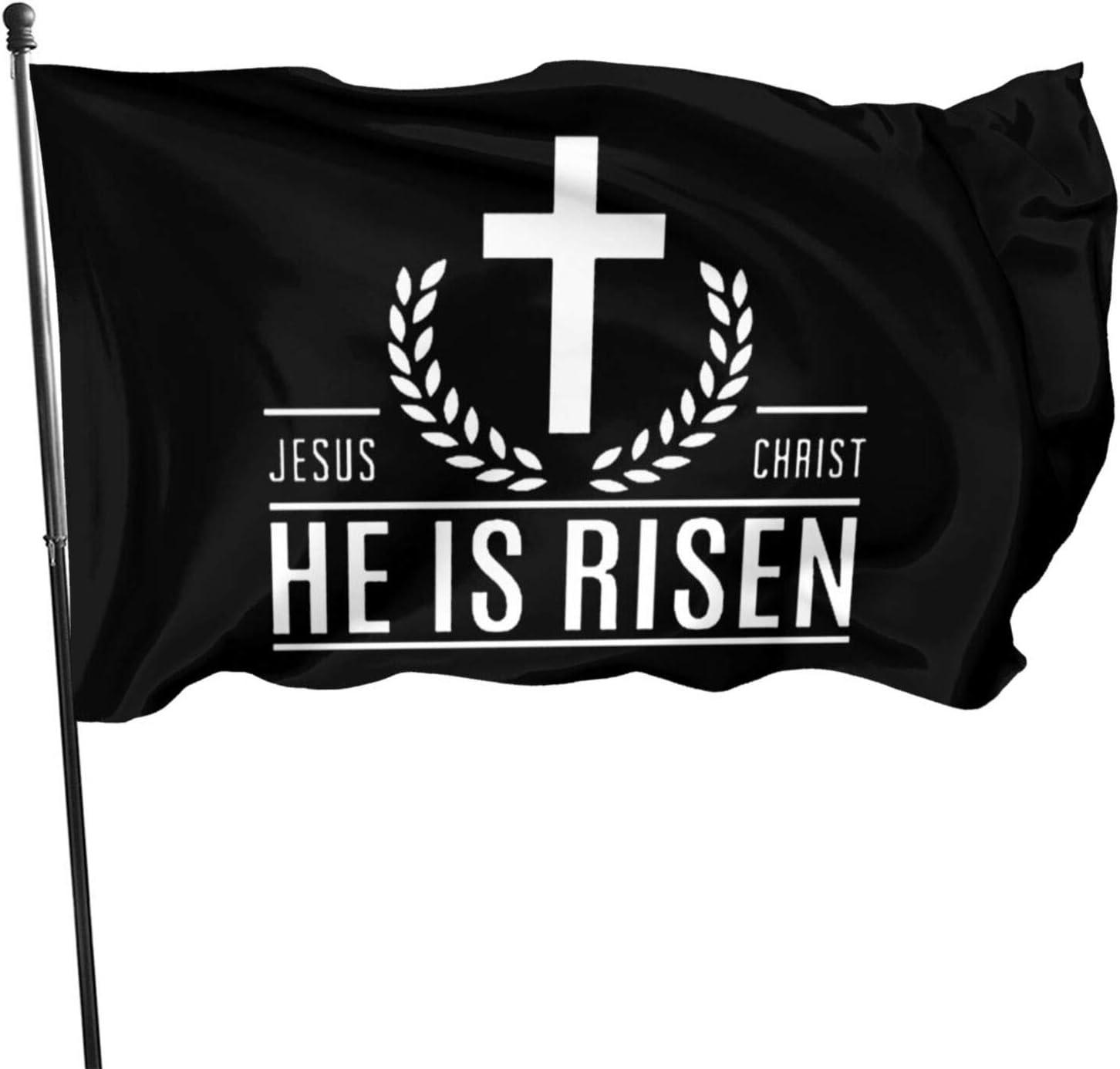 Iowajoji Jesus Christ He is Risen Christian Outdoor Banner Home Garden Flags Decorative Banner 3X5 Ft.