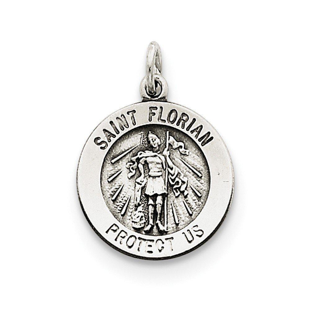 ソリッド925スターリングシルバーantiqued-style Saint Florian Medal ( 15 mm X 22 mm )   B076BLHMSH