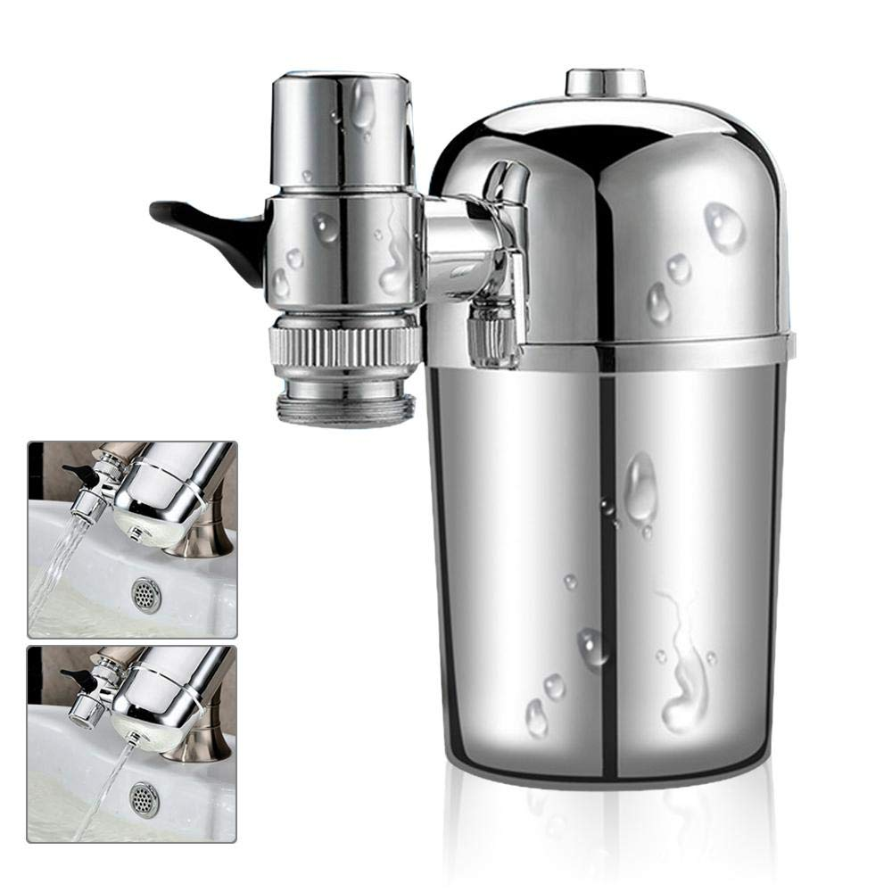 Pawaca Faucet Water Filter, Ultra Adsorptive Material Drinking Water Filter, Fits Standard Faucets (Silver Gray)