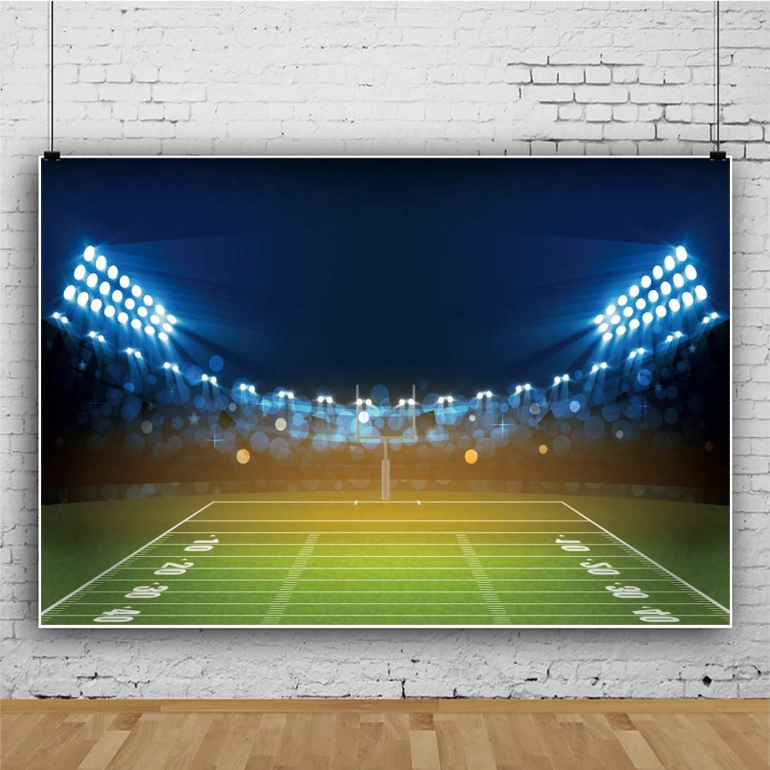DORCEV 8x6ft American Football Stadium Backdrop Super Bowl Fans Sunday Party Championship Competition Photography Background Rugby Field Match Light Halo Boys Birthday Party Photo Studio Props