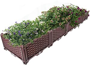 Hershii Plastic Raised Garden Bed Rectangular Planter Boxes Kit Indoor Outdoor Gardening Container for Growing Vegetables, Plants, Herbs, Flowers & Succulents - Brown - 76.77 X 15.35 X 8.66 Inches