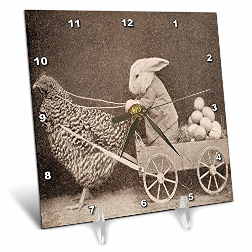 3dRose dc_37253_1 Victorian Photo Rooster Pulling Bunny-Desk Clock, 6 by 6-Inch