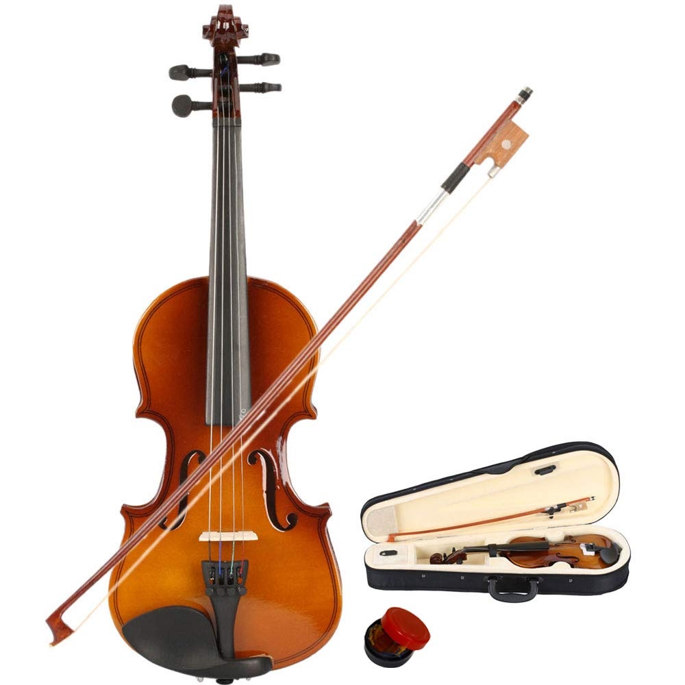 2019 New New 1/8 Size Violin Case Acoustic Violin Case Durable Natural Solid Wood Fiddle for Beginners and Students w/Case, Bow and Rosin Natural Color(US stock)