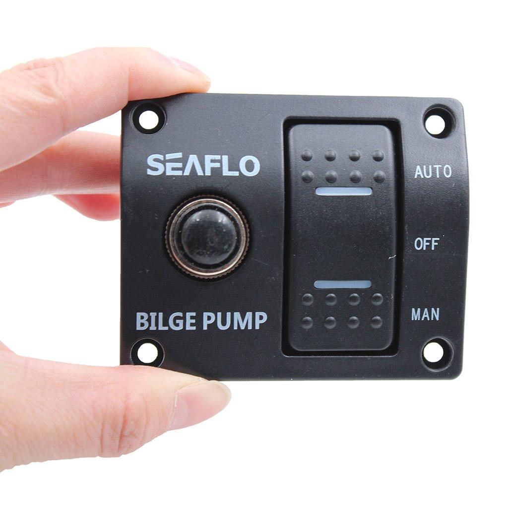 Shiwaki Panel De Barco Marino Interruptor De Bomba De Sentina Oscilante Iluminado De 3 V/ías 12V Apagado Manual Auto