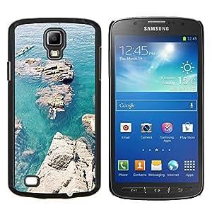 TECHCASE---Cubierta de la caja de protección para la piel dura ** Samsung Galaxy S4 Active i9295 ** --Rocas Canoa Azul Mar Océano