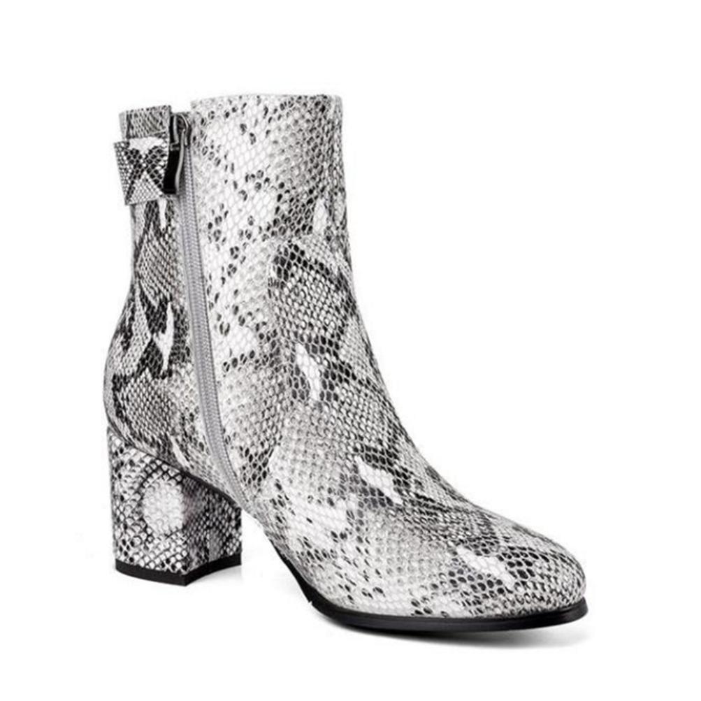 QPYC Damen Stiefel mit hohen Absätzen Personalisierte Serpentine Stiefel Stiefel Stiefel Runde Kopf mit einer Schnalle Side Zipper Stiefel Single Stiefel 916e91