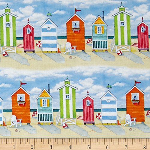 Repeating Stripe - Elizabeth's Studio 0386782 Beach Vista Cabanas Repeating Stripe Sand Fabric by The Yard,