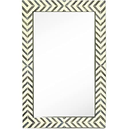 Hamilton Hills New Contemporary Herringbone Pattern Modern Wall Mirror Vanity Bedroom or Bathroom 24 x 36