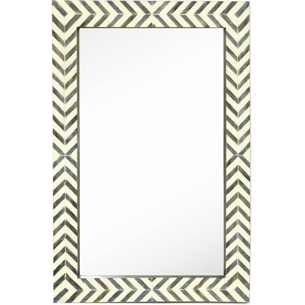 Hamilton Hills New Contemporary Herringbone Pattern Modern Wall Mirror | Vanity Bedroom or Bathroom 24'' x 36''